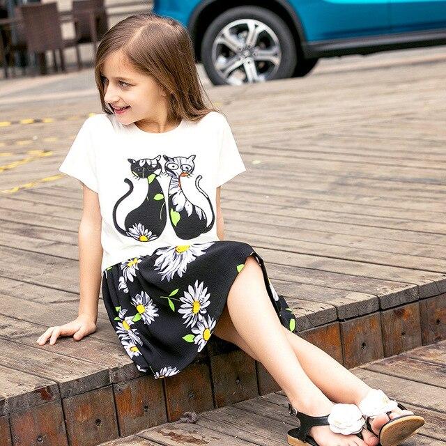 2017 baby Girls summer Clothing Sets for Kids Girls Summer Clothes Set Children Cartoon cat T-shirt + floral dress