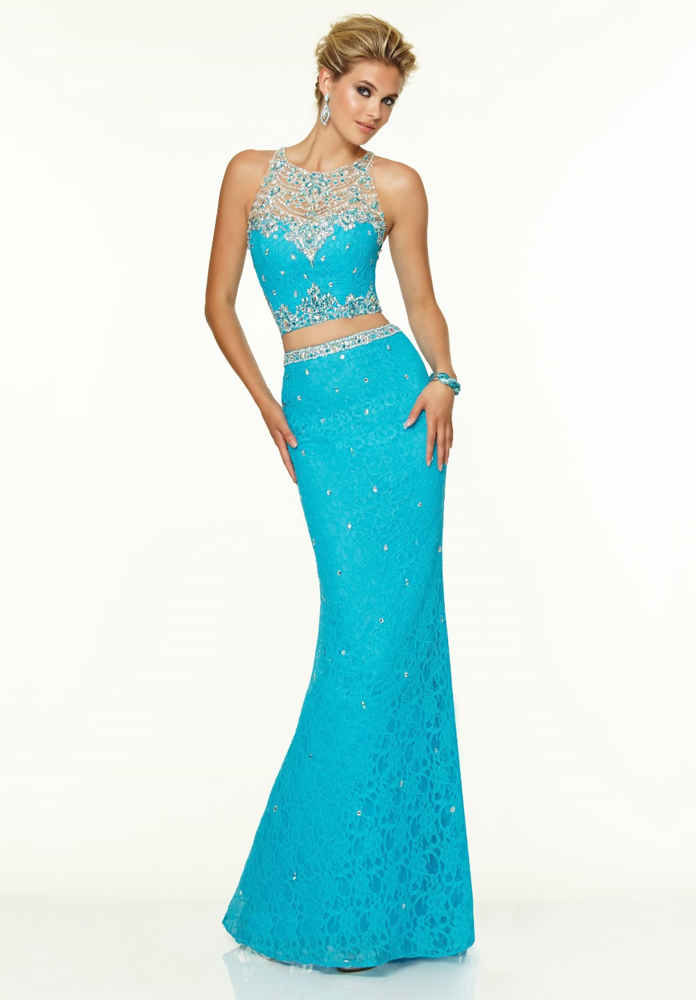 Custom made Halter Neck Exquisite Crystal Beading Lace Mermaid Design Two Piece 2018 Modest Formal Gowns bridesmaid dresses