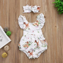 Toddler Infant Baby Girls Cotton Deer Romper Bodysuit Jumpsuit Clothes Outfits