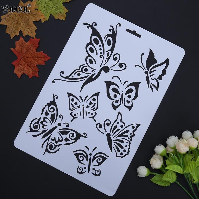 VODOOL Butterfly Hollow DIY Drawing Stencils Template Painting Art Craft Scrapbooking Cards Album Stencils Ruler School Supplies