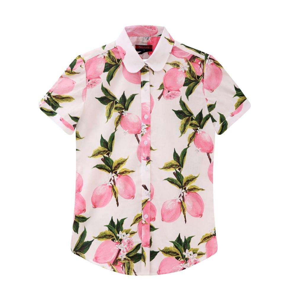 Dioufond Yaz Kısa Kollu Plaj Gömlek Kadın Çiçek Bluzlar Baskı - Bayan Giyimi - Fotoğraf 3