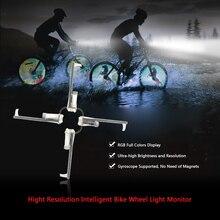 Lixada 2500cd m2 inteligente bicicleta falou monitor de luz da roda rgb display recarregável cubo roda 256 pçs 416pcs leds luz