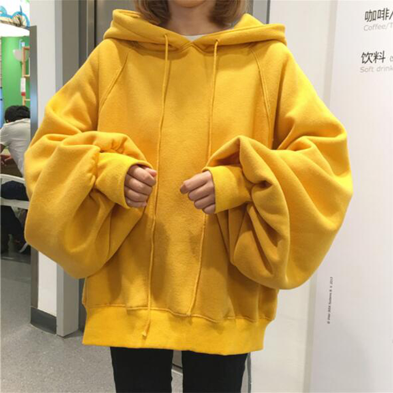 Autumn Winter Big Size Woman Hoodies Fashion Solid Color Lantern Sleeve Hooded Womens Sweatshirts Casual Loose Sweat suits