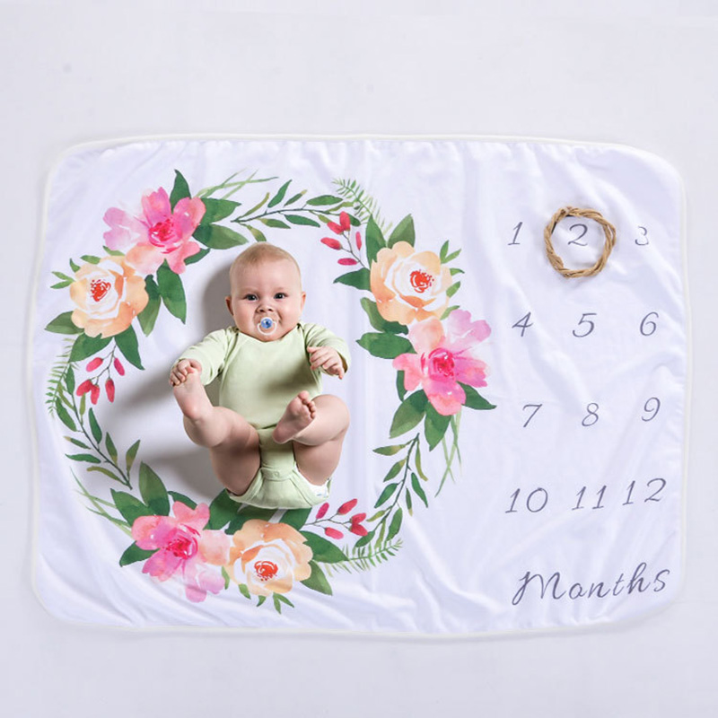 цена Baby Blanket Printed Polar Fleece Baby Milestone Blanket Photography Props Micro Fleece Baby Newborn Photography Blanket