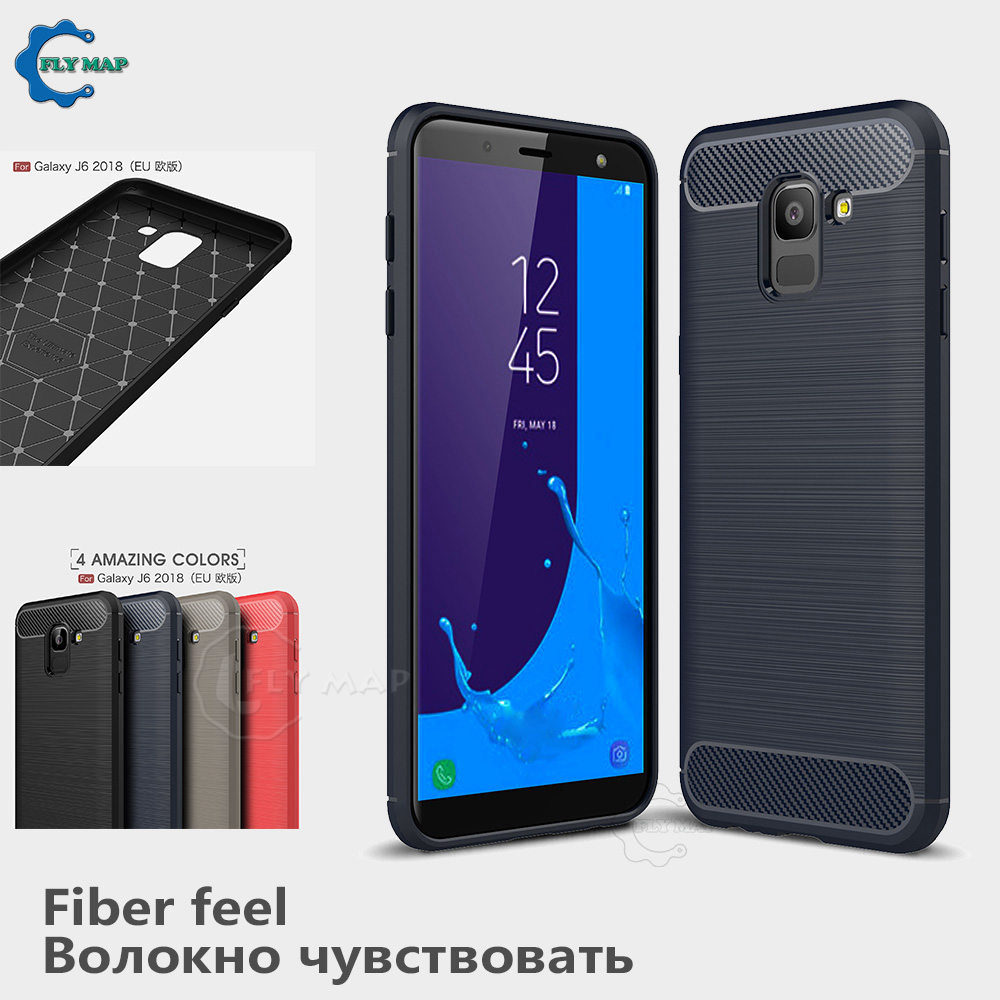Silicone Case for Samsung Galaxy J6 2018 SM J600 J600FN J600FN DS J Carbon Fibe Phone