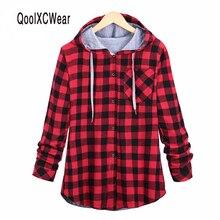 Qoolxcwear модные женские туфли oversize Толстовки хлопок на осень и зиму пальто с длинным рукавом плед хлопок Толстовки Повседневное Button Sweatshirt