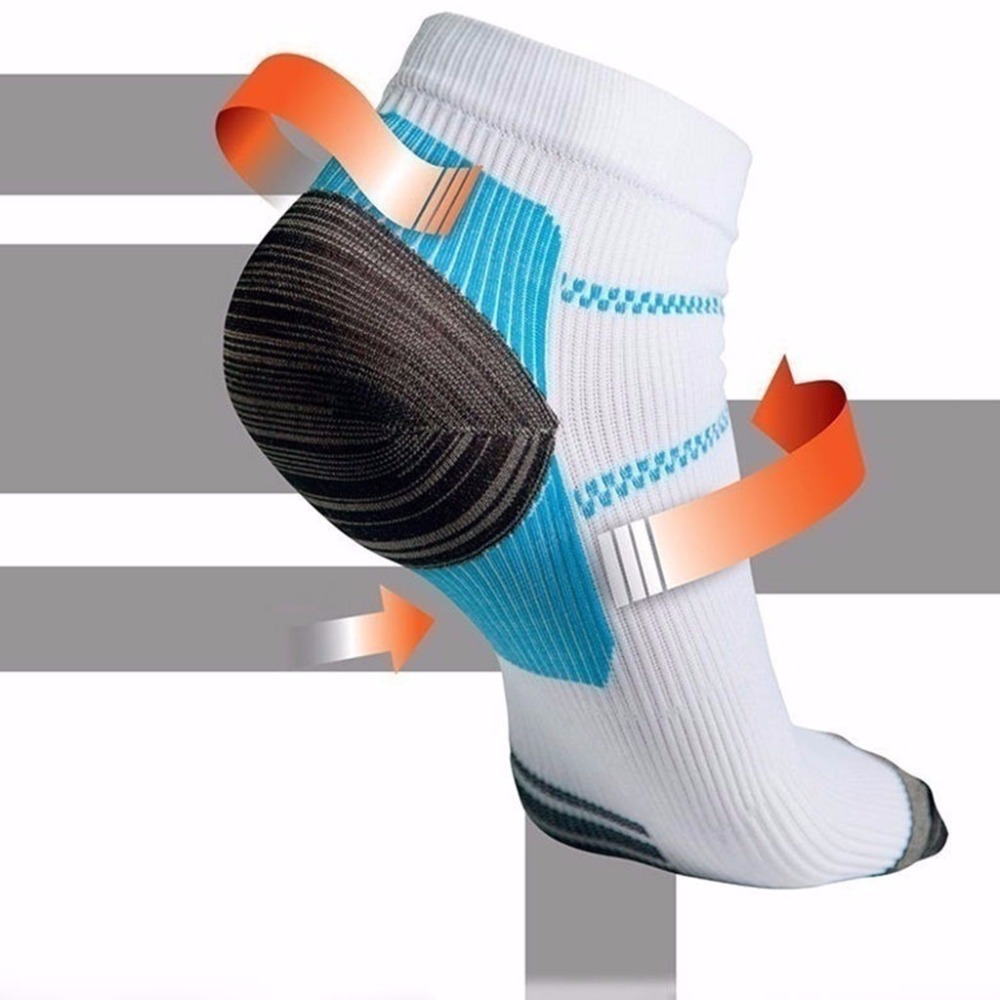 1 Pair Mens Plantar Fasciitis Elastic Compression Low Cut Short Ankle Socks Arch Support Athletic Gym Sports Running Breathable