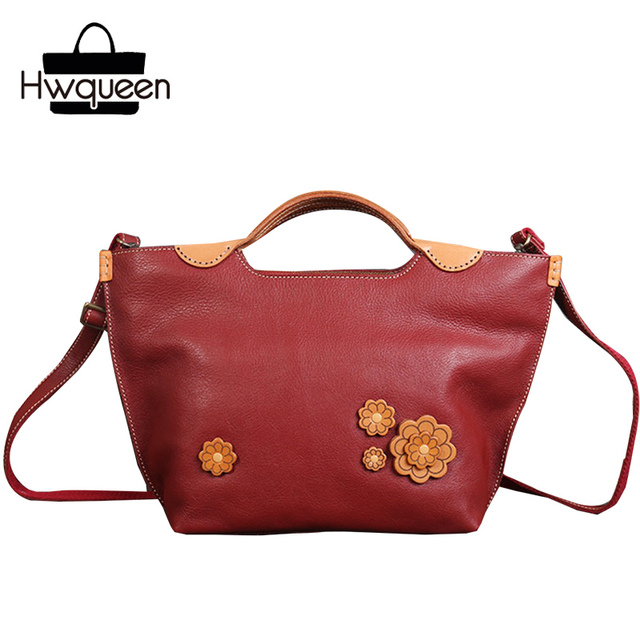 24867b094da7 Vintage Japanese Designer Genuine Leather Ladies Flower Purse Burgundy  Handbag Oxhide Floral Bag Women s Single Shoulder