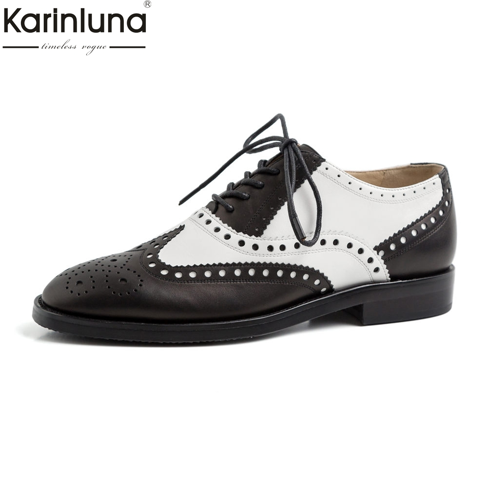 Luxury Brand Genuine Leather Retro Lady Brogue Shoes Woman Flats Female Vintage British Style Lace Up