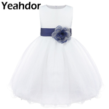 Kids Toddler Girls Knee Length Bowknot Flower Girls Dress Formal Dress Wedding Birthday Party Dress Girls First Communion Dress