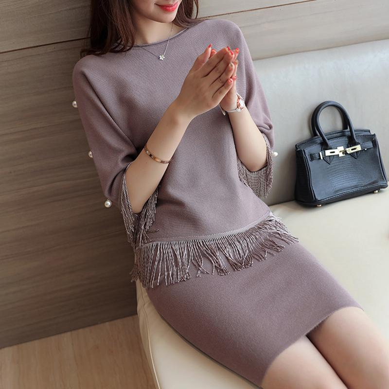 2016 New Women Winter Sexy Dress Half Sleeve Thicken Party Slim Fit Package Hip Hedging Knitted Sweaters skirt Sets For Girl