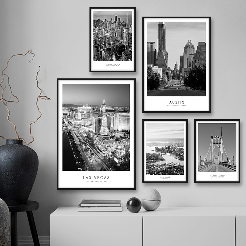 America City Building Landscape Vintage Poster Canvas Print Black And White Wall Art Painting Wall Picture For Living Room Decor image