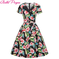 Retro robe Vintage Rockabilly Summer Dress 2018 Sexy Womens 50s 60s Floral Short Sleeve Casual Tunic Ladies Women Party Dresses