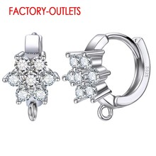 New Attractive Flower Design Crystal Full Paved 925 Sterling Silver Earrings Earring For Women Findings Best Jewelry Accessory(China)