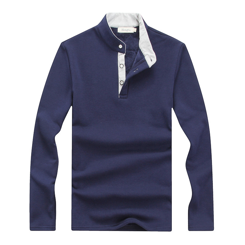Men   Polo   Shirt 2018 Winter Warm New Men's Long Sleeve Shirt Plus Thick Velvet Warm Cashmere Male Casual Solid   Polos