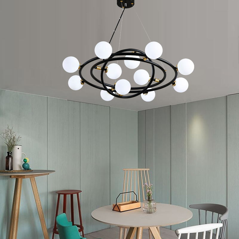 Modern 3 rings Pendant Lights galaxy glass ball hanglamp Lamp For Living Room Dining room LED Round hanging light Fixtures цены