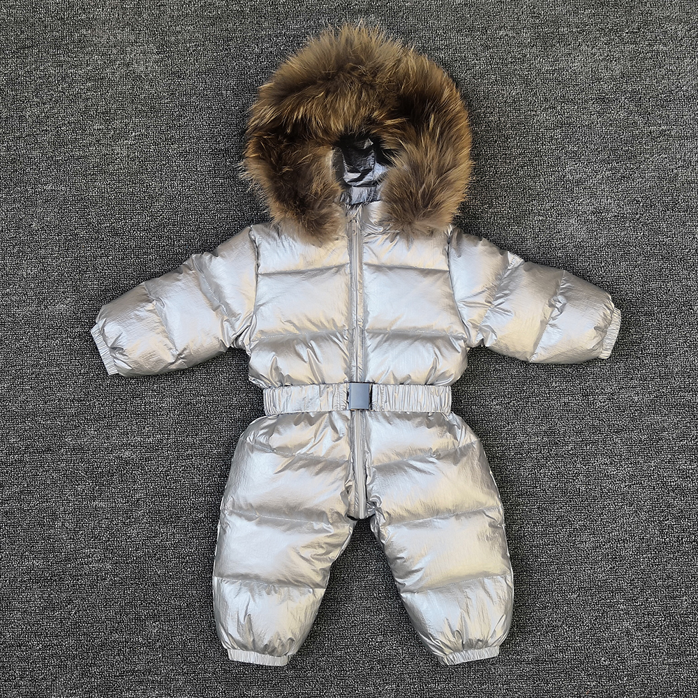 bbe9e0295 Silver Winter warm baby rompers Jumpsuit Children duck down overalls  Snowsuit toddler kids boys girls fur hooded romper costume