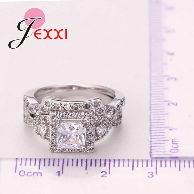 גבוהה באיכות אופנה קלאסי 925 סטרלינג כסף חתונה טבעת סטים לנשים כיכר CZ קריסטל כלה אירוסין טבעת