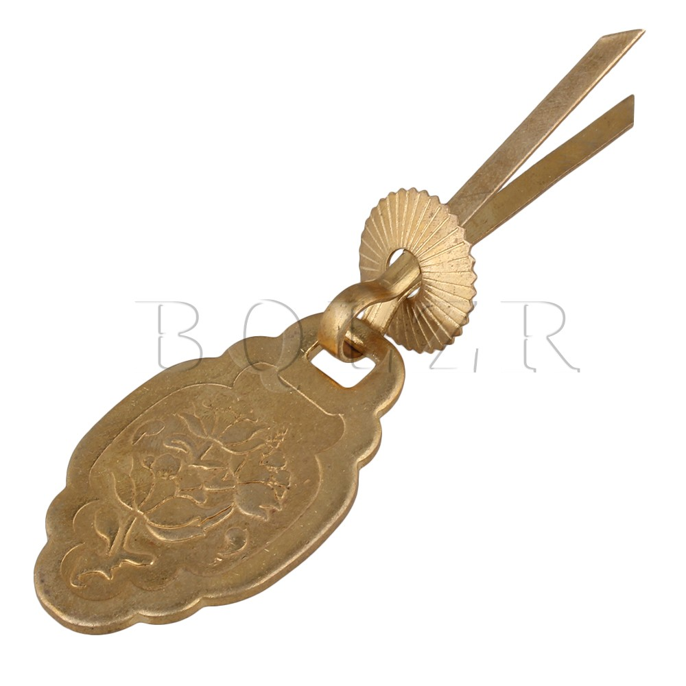 BQLZR Jewelry Box Pull Handle Bronze W/ U-Shaped Pin Carved Flower Design bqlzr 2 x bronze thicken dragon pattern pull knob hardware w u shaped pin