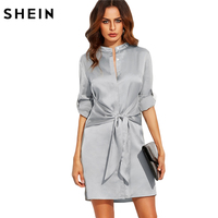 SheIn Elegant Short Dresses For Women Autumn Ladies Plain Silver Round Neck Roll Up Long Sleeve