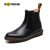 SERENE Brand Men's Boots Big Size 34~46 Leather Winter Warm Shoes Motorcycle Mens Ankle Boot Autumn Unisex Chelsea Boot