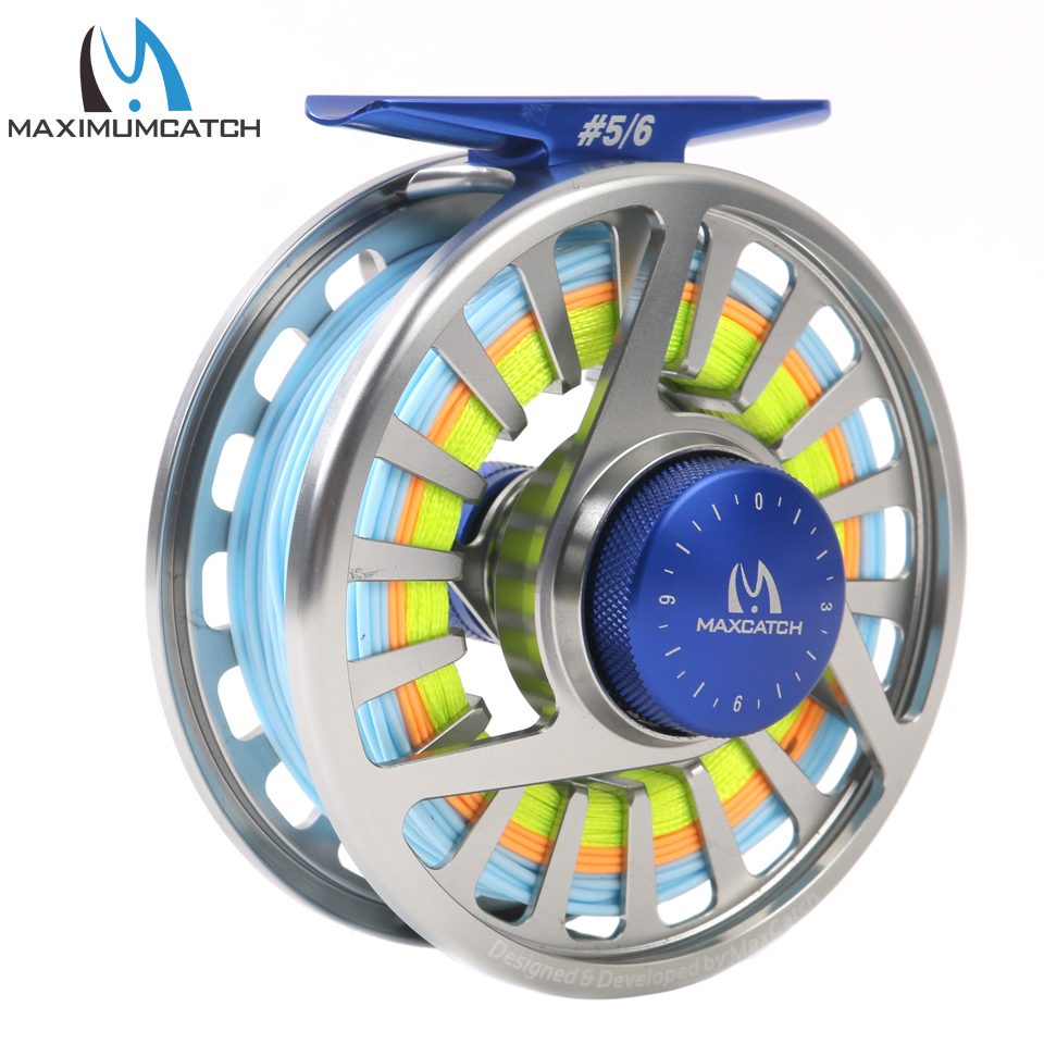 Maximumcatch 5/6WT Fly Reel with Line Pre-spooled Fishing Fly Line WF5F Backing Leader Fly fishing Combo maximumcatch 5 6wt fly fishing combo 9ft fly rod and avid pre spooled reel outfit