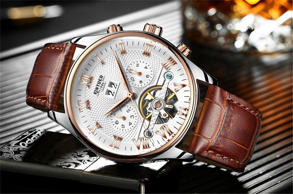 HTB1tJV0dvWG3KVjSZPcq6zkbXXaW KINYUED 2019 Skeleton Tourbillon Mechanical Watch Automatic Men Classic Rose Gold Leather Mechanical Wrist Watches Reloj Hombre