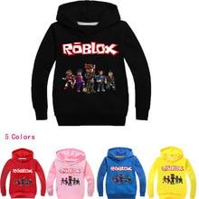 Roblox/футболка для мальчиков и девочек с героями мультфильмов, одежда, красный день, свитер с капюшоном и длинными рукавами, одежда, пальто