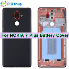 Nieuwe Voor Nokia 7 Plus Back Battery Cover Achter Glas Behuizing Case + Boutton Camera Lens TA-1062 Vervanging deel E7 Plus Case(China)