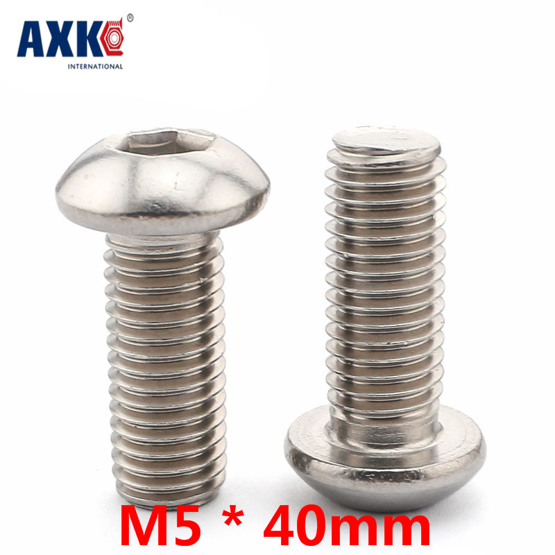 Axk 10pcs 304 Stainless Steel Pan Head Screws Round Head Screws Hexagonal Bolts Mushrooms <font><b>M5</b></font> * <font><b>40mm</b></font> image