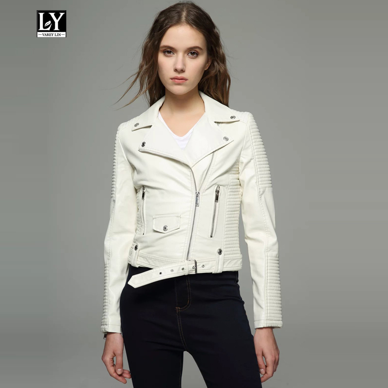 Ly Varey Lin Autumn Women Faux Soft   Leather   Pu Motorcycle Jacket Rivet Zipper Female Black Punk Short Coat Slim White Outerwear