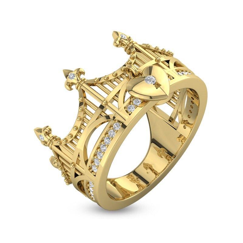 Miniature Bridge Series Gold Tiara Shaped Designer 925 Silver Crown Promise Ring Female Engagement Party Wholesale