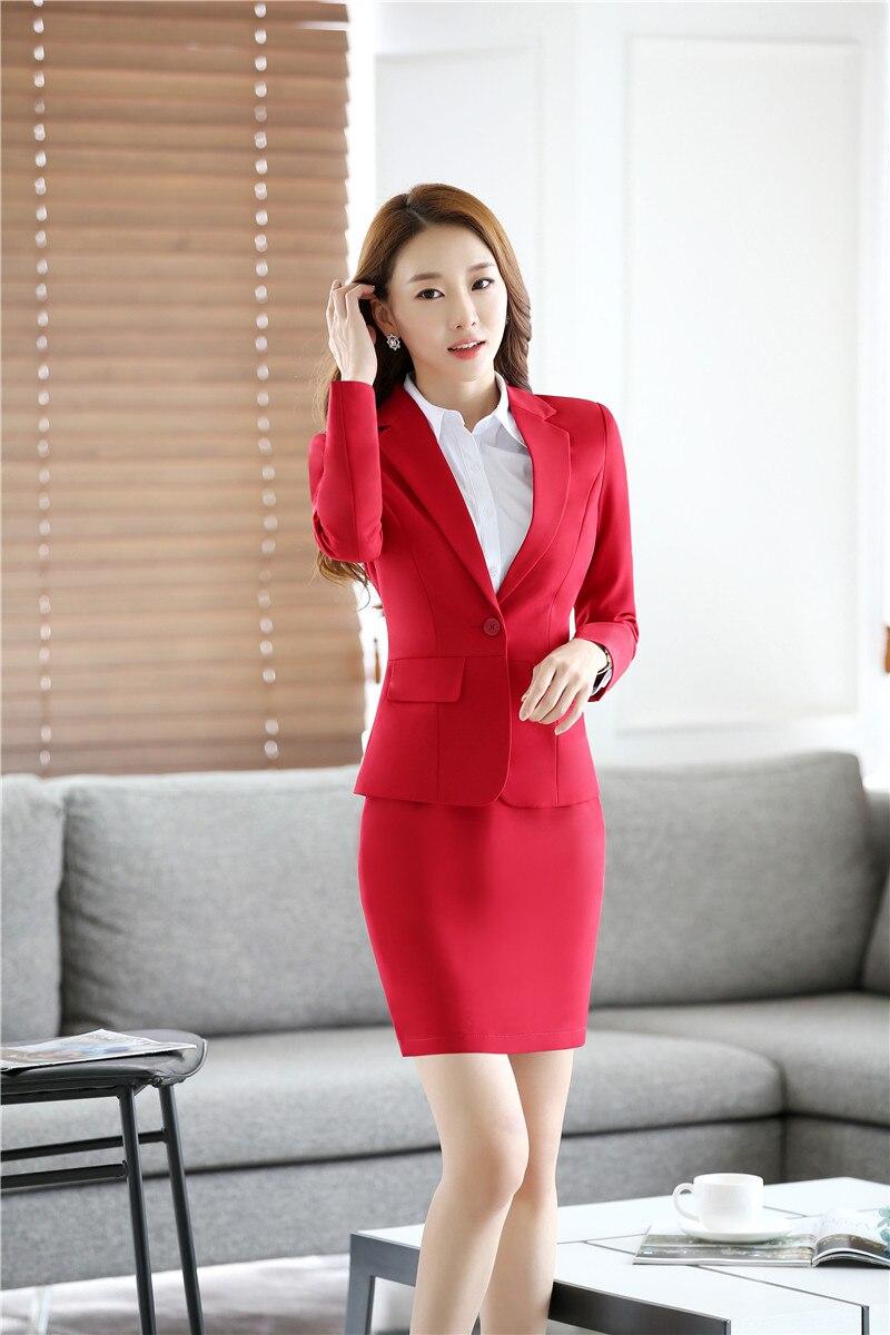 Vêtements Avec Beauté Formelle Et Veste Travail Bsuienss Bureau De Jupe Femmes Blazer Rouge Salon Uniforme Dames Conceptions Costumes Ensembles wRqRtPF