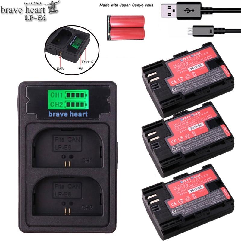 2x Decodiert 1865 Mah Bateria Lp E6 Lpe6 Lp-e6 Kamera Batterie Lp-e6n Lp E6n Für Canon Dslr Eos 60d 5d3 7d 6d 70d 5d Mark Ii Iii Digital Batterien