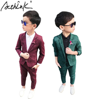 ActhInK Autumn Winter Korean Style Young Boys Formal Suits England Style Flower Boys Turn Down Collar