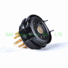 лучшая цена 2pcs Vacuum CMC Bakelite 9Pin Gold Tube Socket 12AX7 ECC82 6922 6DJ8 Tube Guitar Amplifier