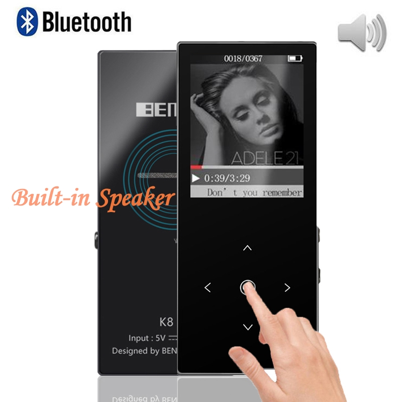 Bluetooth HiFi i ri MP3 Player BENJIE-K8 8 GB Altoparlant i integruar Muzik Player Walkman Audio Player Player SD e zgjerueshme deri në 64 GB