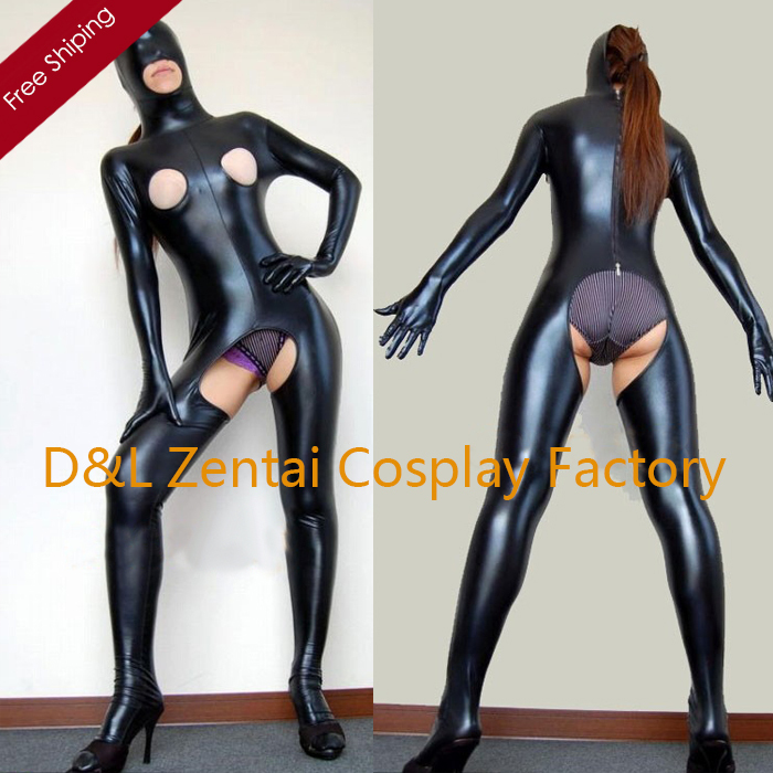Free Shipping DHL Halloween Costumes Black Shiny Metallic Spandex Zentai Suit Sexy Zentai Suit Fantasy Carnival Costume