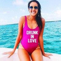 PIJANY IN LOVE One Piece Swimsuit Bikini List Miłość Prezent drukuj Kobiety Strój Panny Młodej Plaży Nosić Body Wysokiej Cięcia Ślub prysznic