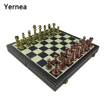 Yernea Folding Chess Games Set Metal Pieces Solid Wood Chessboard Mounted Synthetic Leather High-quality