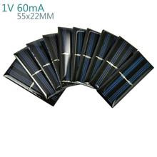 AIYIMA 10Pcs Solar Panels Polycrystalline Silicon Flexible Solar Panel Power Charger 1V 60mA 55x22MM DIY Portable