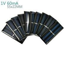 AIYIMA 10Pcs Solar Panels Polycrystalline Silicon Flexible Solar Panel Power Charger 1V 60mA 55x22MM DIY Portable Solar cells