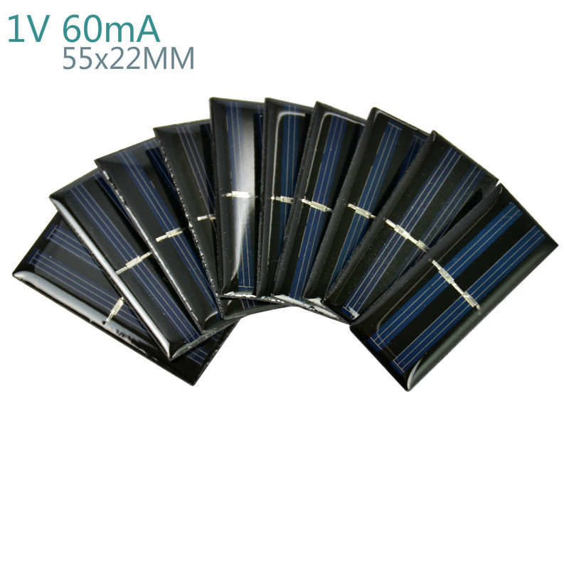 Aiyima 10Pcs Solar Panels Polycrystalline Silicon Flexible Solar Panel Power Charger 1V 60mA 55x22MM DIY Portable Solar cells