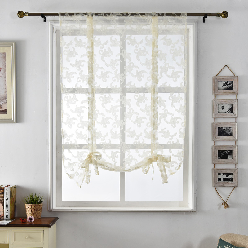 Kitchen Curtains Jacquard Tulle Roman Blinds Floral White Sheer Fabrics Window Treatment Short Door Curtains Home Textile