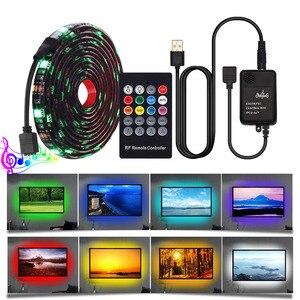 Image 3 - Juego de tiras de luces Led RGB con USB 5050, mando a distancia RF de 20teclas, controlador de música, tira de luces Led USB para lámpara de fondo de TV, cinta LED