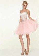 Neue Ankunft Rosa Kurzen Perlen Ballkleid Cocktailkleid Süße 16 Kleider Sexy Schatz Mini Prom Party Kleider Für Mädchen