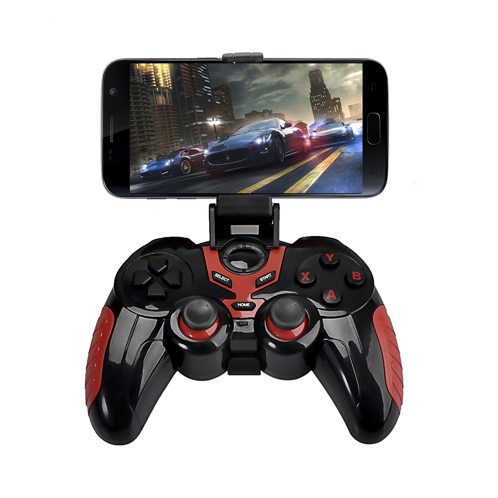 Wireless Bluetooth Game Controller with Phone Holder Wireless Gaming Joystick Gamepad Black and Red for Android