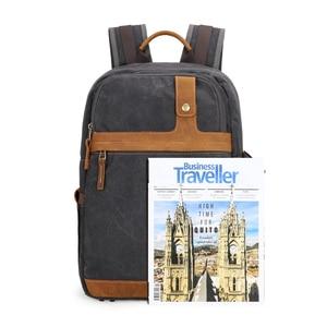 Image 3 - Waterproof Batik Canvas+Leather Shoulders Protect Bag Professional Photographic Camera Backpack for SLR Camera Lens Tripod Flash
