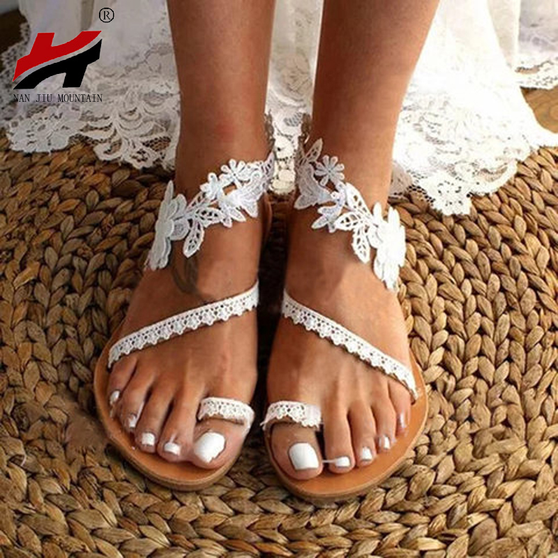 NAN JIU MOUNTAIN Summer Sandals Women's Flat Sandals Solid Color Lace Open Toe Wedding Plus Size 34-43
