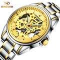 Fashion Luxury Brand BINSSAW 100M Automatic Mechanical Watch Skeleton Men Watches 2016 Gold Male Wristwatch Relogio Masculino